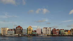 4K Time lapse zoom out Willemstad Curacao Waterfront Stock Footage