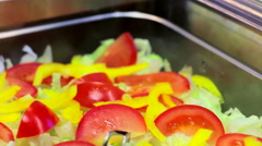 Salad bar in restaurant slider shoot Stock Footage