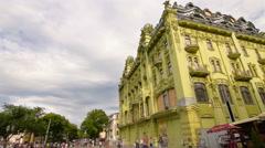 Deribasovskaya Street and big Moscow Hotel, Odessa, pedestrians, timelapse Stock Footage