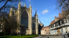 Time lapse east transept of york minster by st williams college york uk Stock Footage
