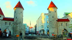 Wall of ancient fortress in the old town, Tallinn rr Stock Footage