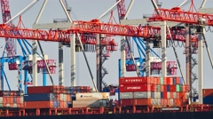 Timelapse of gantry cranes loading and unloading containers from cargo ship dock Stock Footage