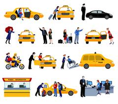 Set Of Taxi Service Icons Stock Illustration
