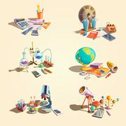 Science retro cartoon set - stock illustration