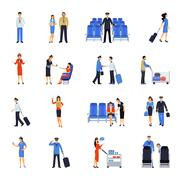Pilot And Stewardess Flat Icons Set - stock illustration
