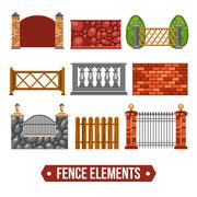Fence Design Elements Set Stock Illustration