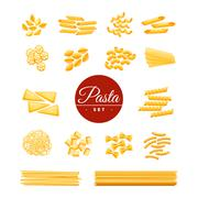 Italian Traditional Pasta Realistic Icons Set Stock Illustration