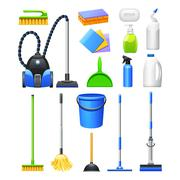 Cleaning Equipment Kit Flat Icons Set - stock illustration