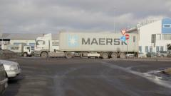 Maersk Container truck Stock Footage