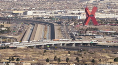Looking down at Juarez, Mexico. - stock footage