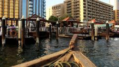First person view from Abra boat bow, approach station pier, Deira main berth Stock Footage