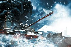 Tank in the conflict zone Stock Illustration