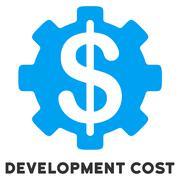 Development Cost Flat Icon with Caption Stock Illustration