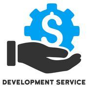 Development Service Flat Icon with Caption Stock Illustration