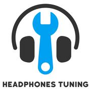 Headphones Tuning Flat Icon with Caption Stock Illustration