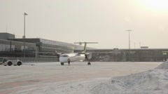 Airbaltic Bombardier Dash 8 Q400 Stock Footage