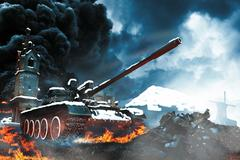 Tank in the conflict zone - stock illustration