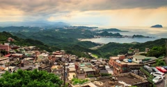 Time lapse of sunset and skyline view from Jiufen old street, Taiwan Stock Footage