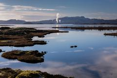 Icelandic nature outdoors at Silfra geothermal plant - stock photo