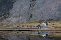 Viking village ruins in Iceland - stock photo