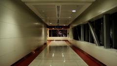 Empty metro passage, overground pedway at late evening, dim illumination Stock Footage