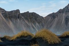 Icelandic landscape with mountains and fjords at coast Stock Photos