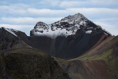 Icelandic landscape with mountains and fjords Stock Photos