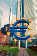 Frankfurt, Germany - January 27 : Euro Sign. European Central Bank (ECB) is t - stock photo