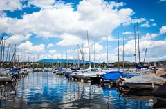 Stock Photo of ZURICH, SWITZERLAND-June 21 : Lake Zurich is a lake in Switzerland, extending