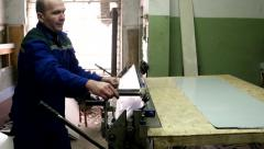 Tinsmith special blade cuts the sheet metal on the machine Stock Footage