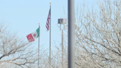 Mexican Flag and the American Flag 2 Stock Footage