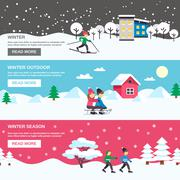 Winter Season 3 Flat Banners Set - stock illustration