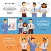 Cooperation banner set - stock illustration