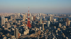 Tokyo Cityscape With Tokyo Tower on Sunny Day - stock footage