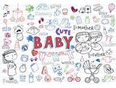 Infant Icon set - stock illustration