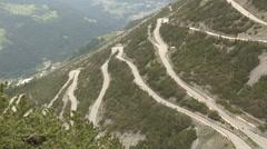 The curves of  Stelvio pass Stock Footage