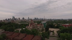 Aerial shot Casa Loma overlooking downtown Toronto in a cloudy day Stock Footage