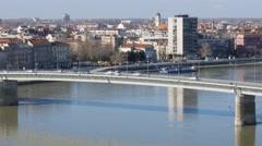 Bridge over river Danube entering city of Novi Sad, closer shot. Stock Footage