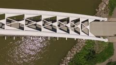 Cinematic aerial shot looking down humber bay bridge at Toronto lakeshore Stock Footage