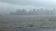 Stormy view of the New York City skyline Stock Footage