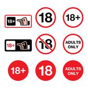 Under 18, adults only warning sign - stock illustration