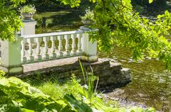 Old pier and pond through greenery - stock photo