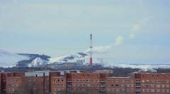 Smoke from pipe of thermal power station in winter. - stock footage