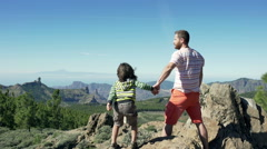 Father standing with the son on the rock and looking joyful Stock Footage