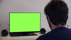 Watching TV Green Screen Close Look - stock footage