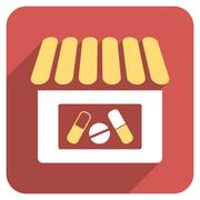 Drugstore Flat Rounded Square Icon with Long Shadow - stock illustration