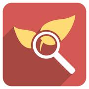 Explore Natural Drugs Flat Rounded Square Icon with Long Shadow - stock illustration