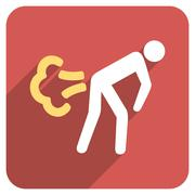 Fart Flat Rounded Square Icon with Long Shadow Piirros