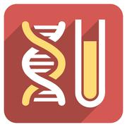 Genetic Analysis Flat Rounded Square Icon with Long Shadow Stock Illustration