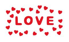 Red title LOVE with hearts on the white background, Valentine's Day - stock illustration